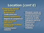 location cont d1