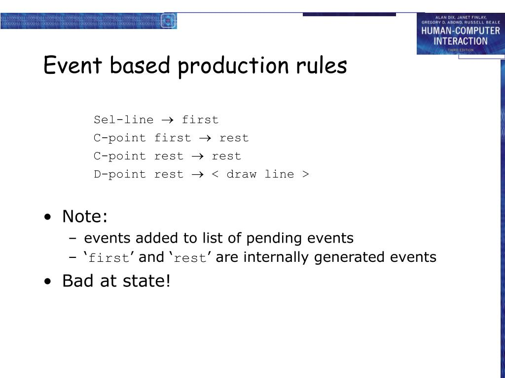 Event based production rules