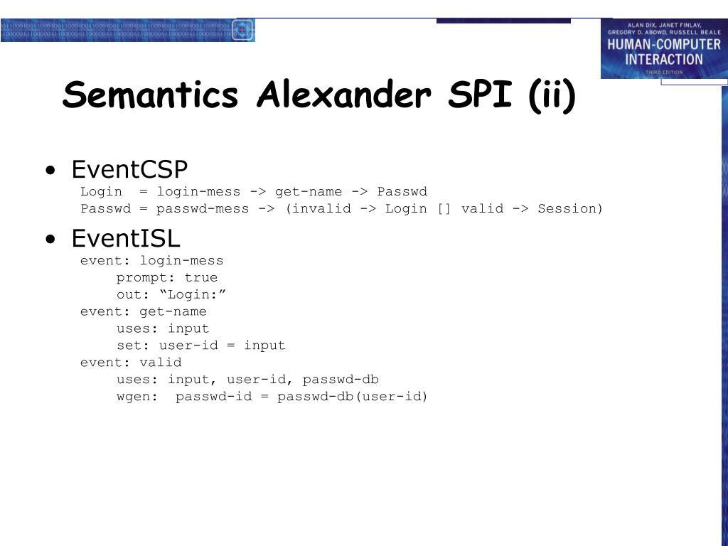 Semantics Alexander SPI (ii)