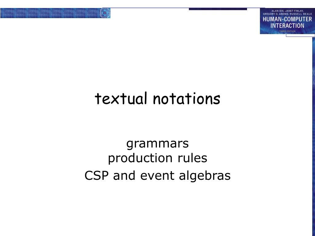 textual notations