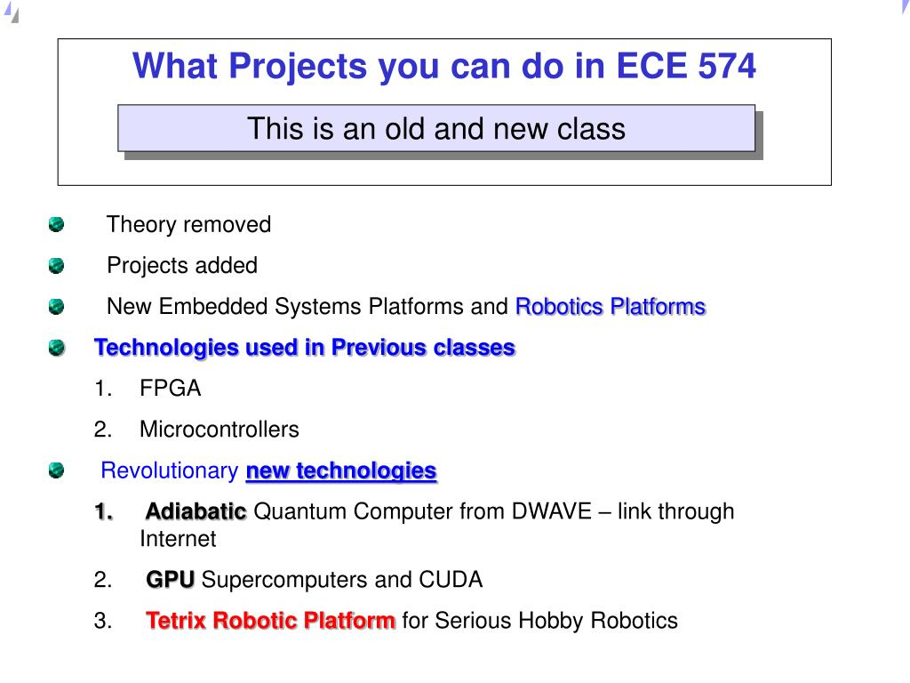 what projects you can do in ece 574 l.