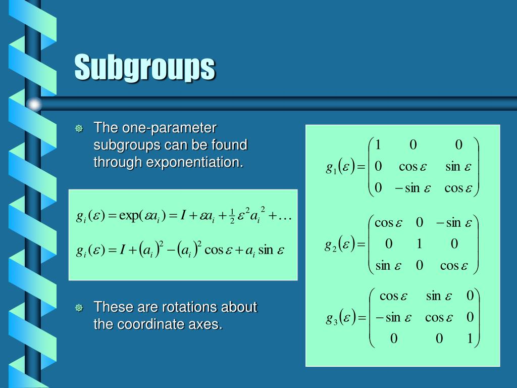 The one-parameter subgroups can be found through exponentiation.