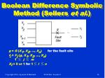 boolean difference symbolic method sellers et al