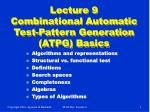 lecture 9 combinational automatic test pattern generation atpg basics