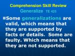 comprehension skill review generalize te 4251