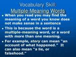 vocabulary skill multiple meaning words