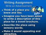 writing assignment write an advertisement