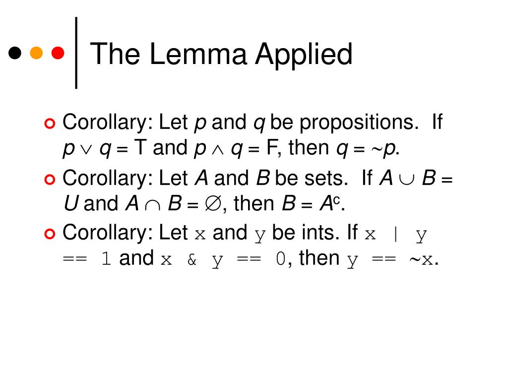 The Lemma Applied