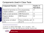 components used in class tests