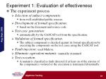 experiment 1 evaluation of effectiveness