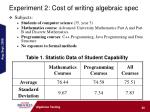 experiment 2 cost of writing algebraic spec