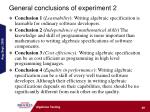 general conclusions of experiment 2