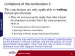 limitations of the conclusions 2