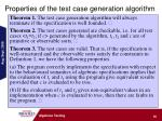 properties of the test case generation algorithm