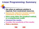 linear programming summary