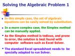 solving the algebraic problem 1