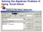 solving the algebraic problem 4 using excel solver