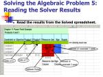 solving the algebraic problem 5 reading the solver results