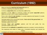 curriculum 1992