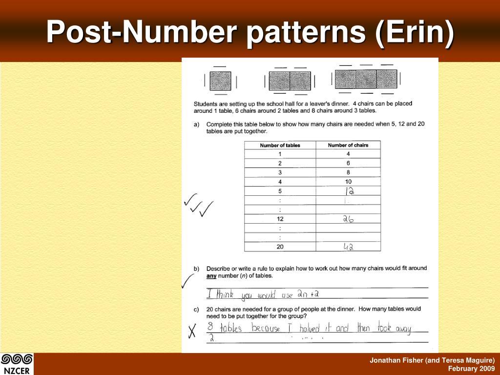 Post-Number patterns (Erin)