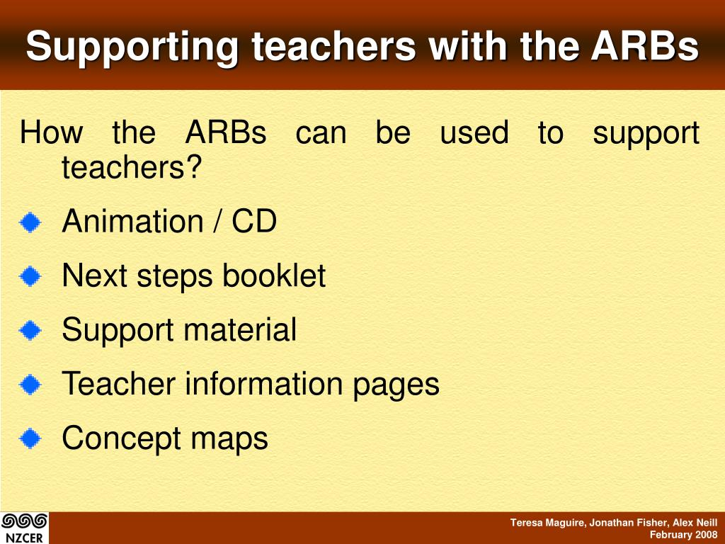 Supporting teachers with the ARBs