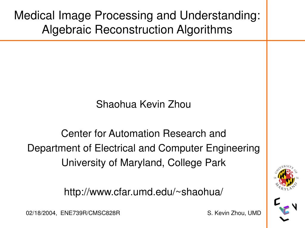 medical image processing and understanding algebraic reconstruction algorithms l.
