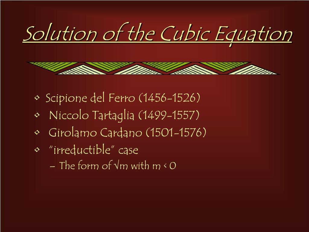 Solution of the Cubic Equation