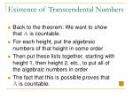 existence of transcendental numbers72
