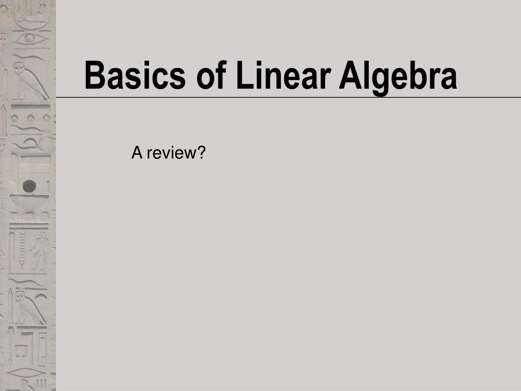 basics of linear algebra l.