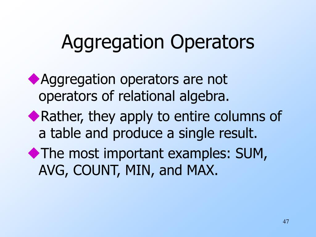 Aggregation Operators