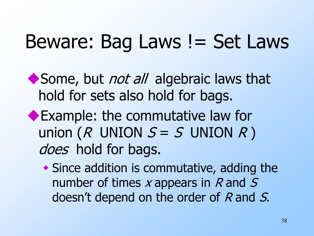 Beware: Bag Laws != Set Laws