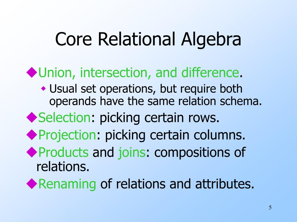 Core Relational Algebra