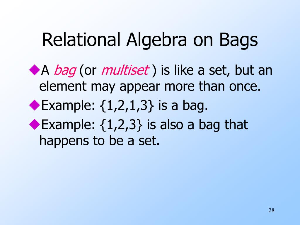 Relational Algebra on Bags