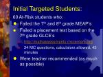initial targeted students