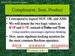 complement sum product
