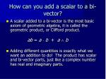 how can you add a scalar to a bi vector