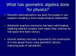 what has geometric algebra done for physics