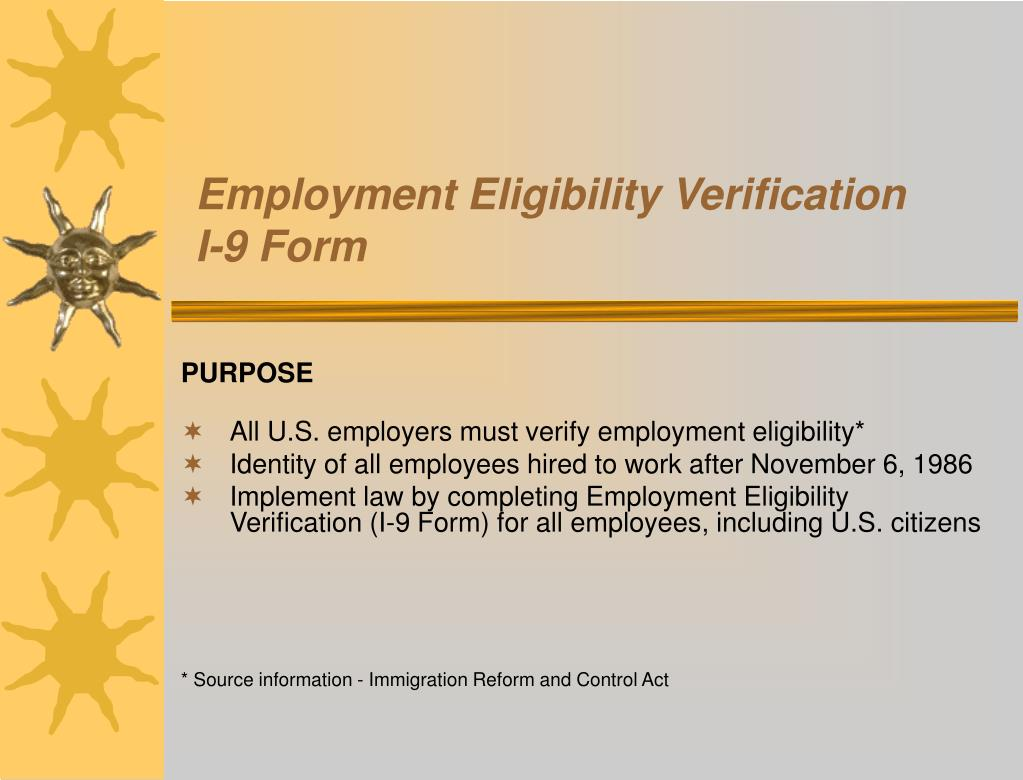 employment eligibility verification i 9 form l.