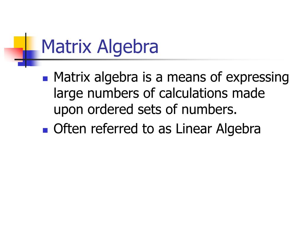 matrix algebra l.