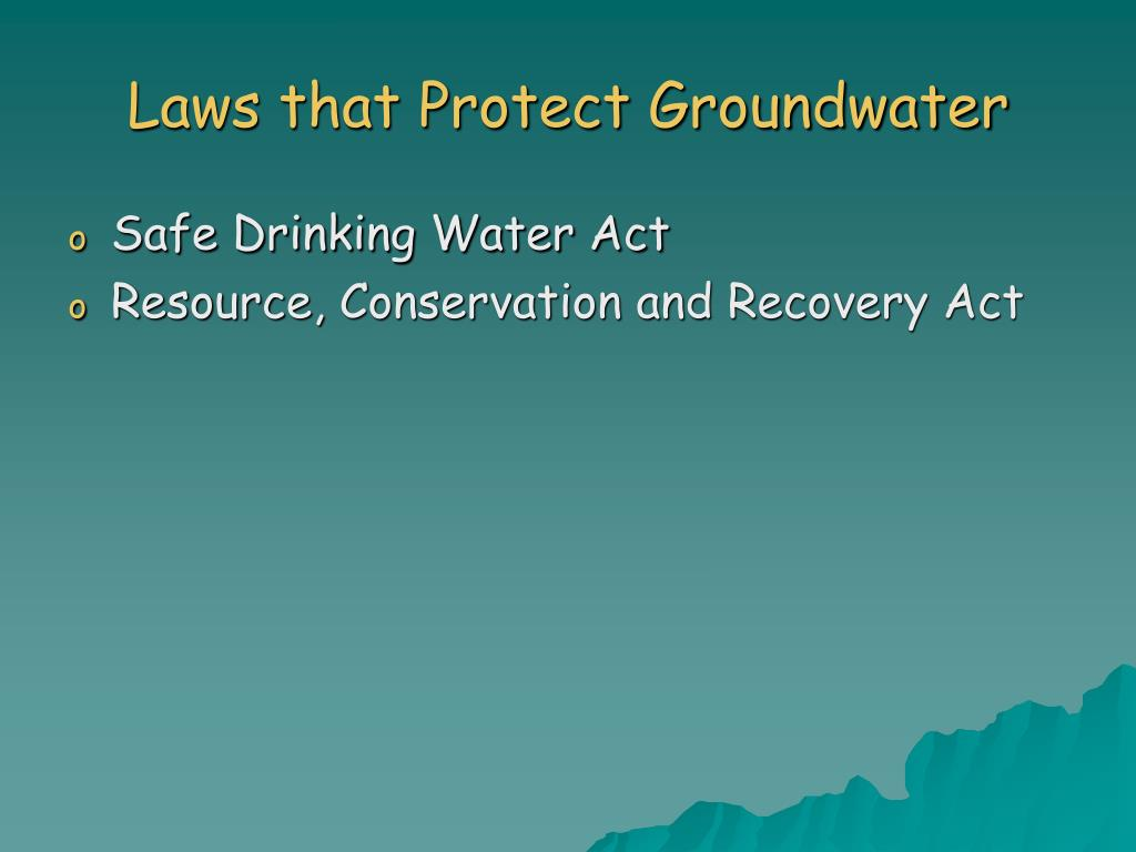 Laws that Protect Groundwater