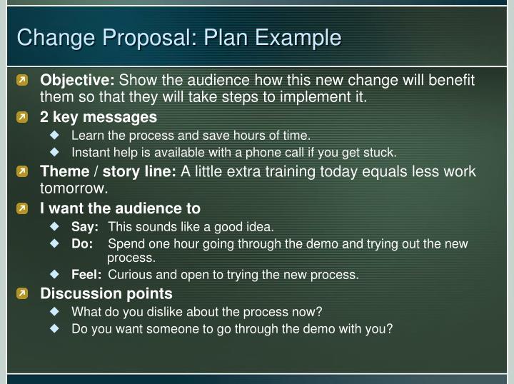 Change proposal plan example
