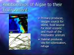 relationships of algae to their environment