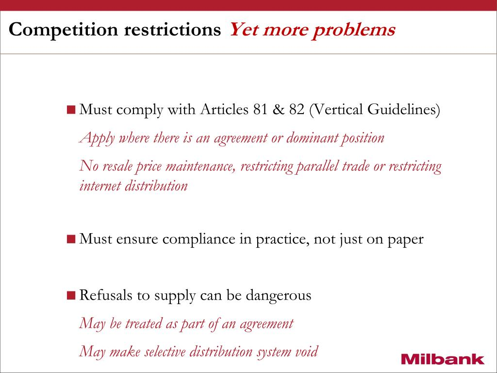 Competition restrictions