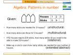 algebra patterns in number