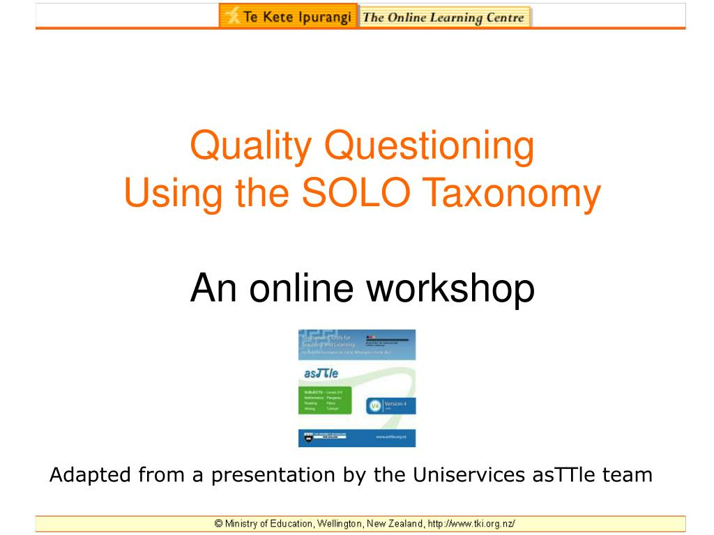quality questioning using the solo taxonomy an online workshop l.