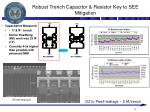 robust trench capacitor resistor key to see mitigation