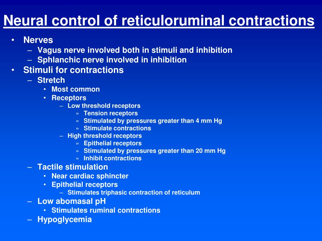 Neural control of reticuloruminal contractions
