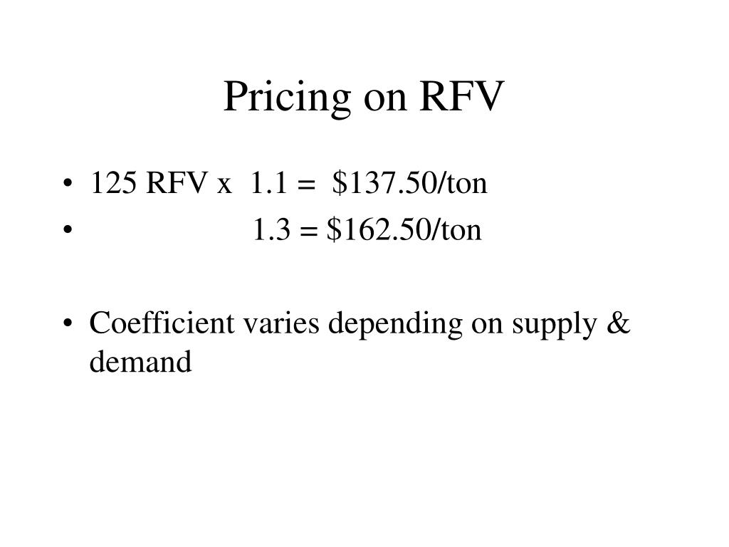 Pricing on RFV
