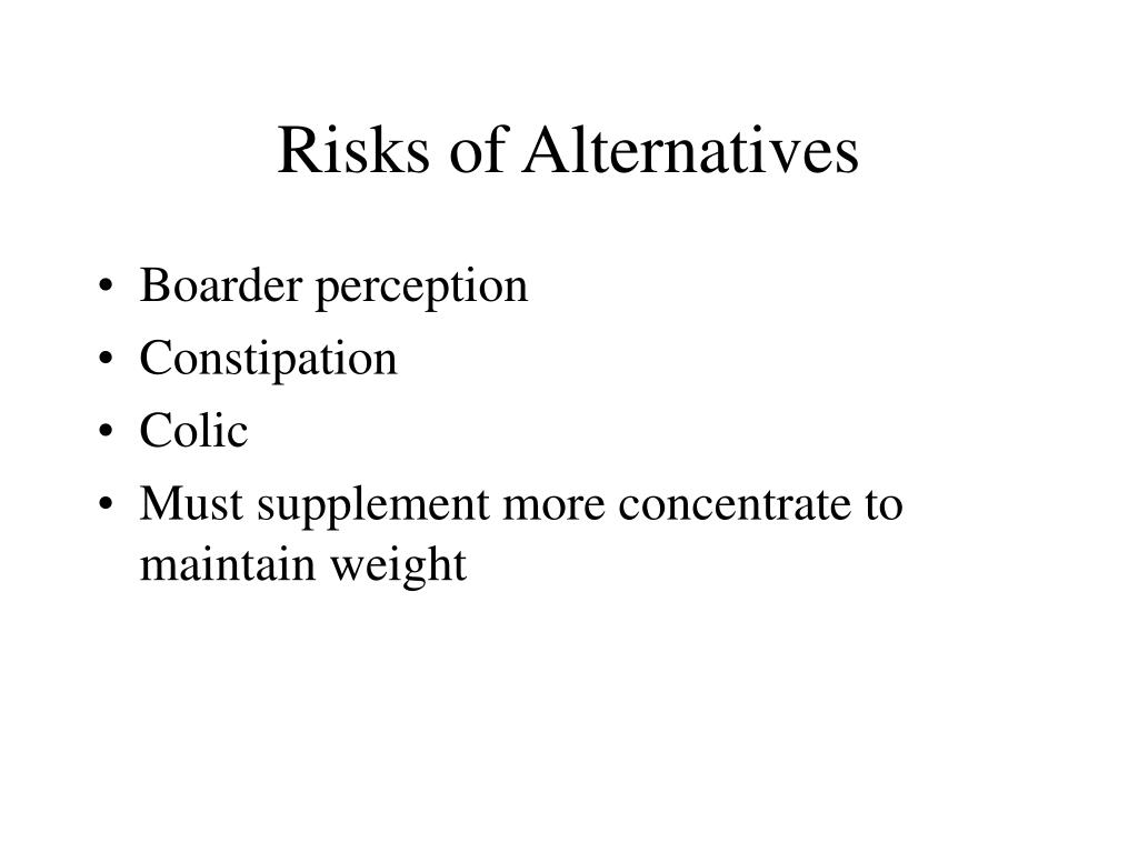 Risks of Alternatives