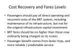 cost recovery and fares levels